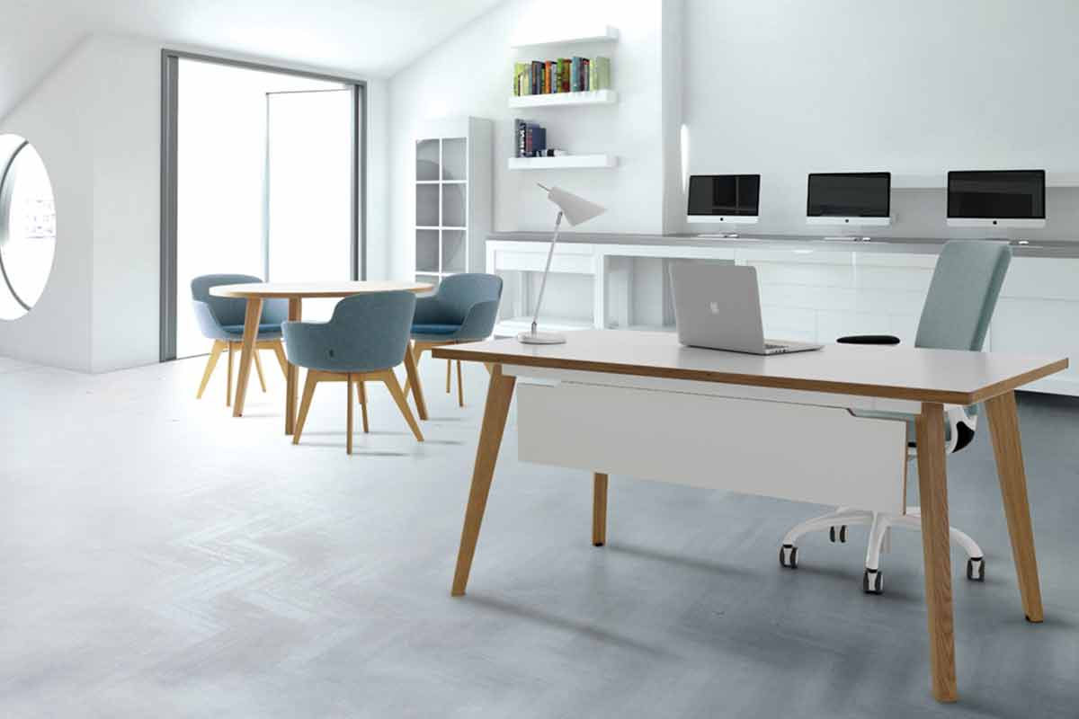 Modern office furniture is minimalist office with Macs