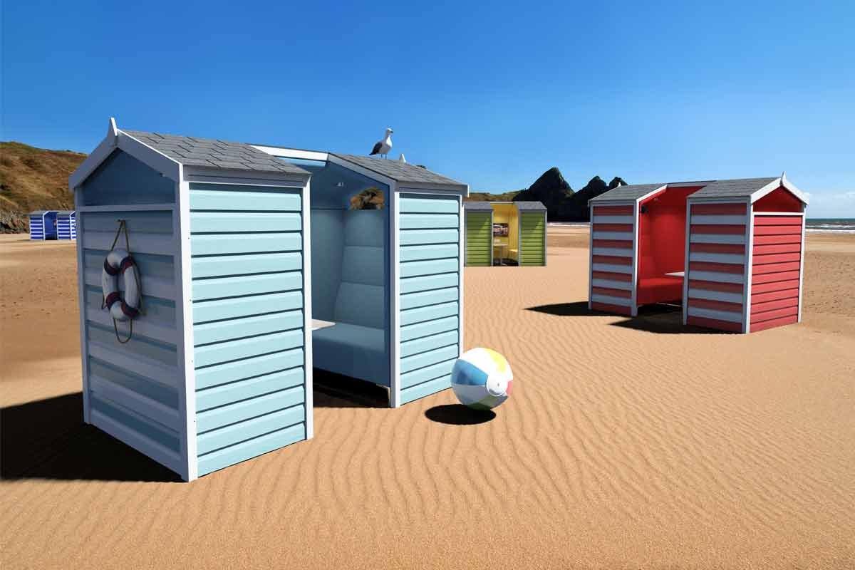 Beach hut design meeting pod for offices