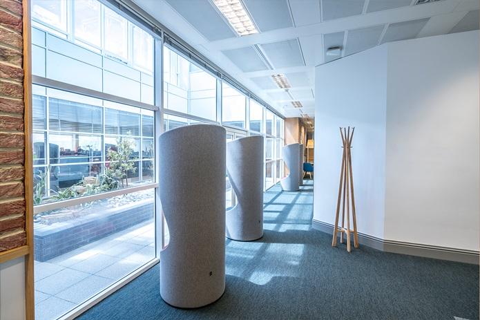 Office pods hide design grey