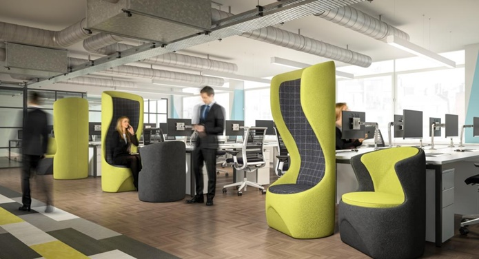 Office pods in busy office