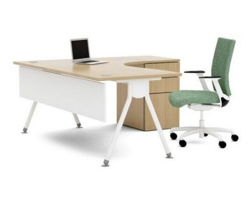 ACUTE desk - curved corner desk with slimline legs